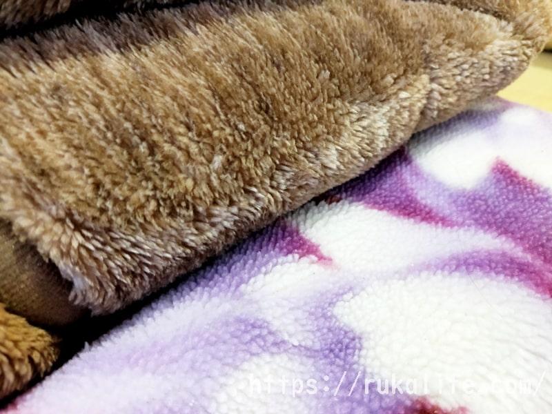 ニトリのNウォームスーパーと普通の毛布の毛足の比較
