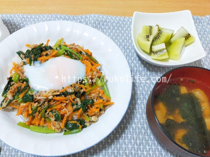 オイシックスのミールキットのビビンバとスープの完成品